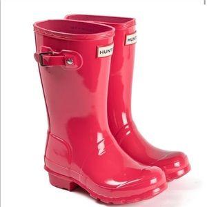 Hunter original pink gloss short rain boots